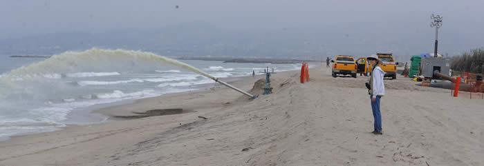Pumping Of The Santa Clara River Estuary At Mcgrath State Beach Ventura Ca 13 August 2017